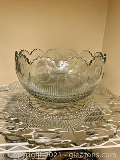 Cut Glass Charming Serving Tray and Punch Bowl
