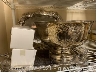 Silver Punch Bowl/Cups and 2 Service Trays