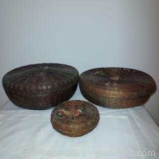 3 Wicker Sewing Baskets