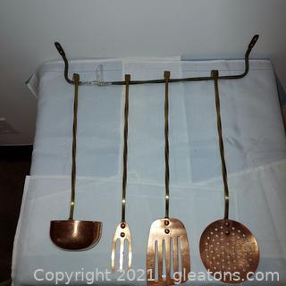 4 Piece Copper Utensil Set With Hanger