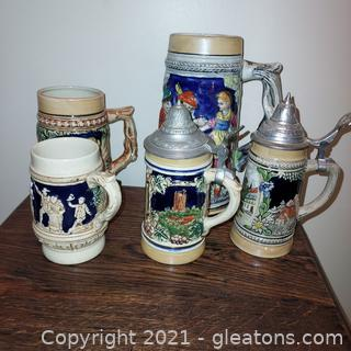 Lot of 5 Steins