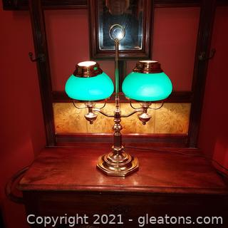 Double Brass Student Library Lamp with Green Glass Globes