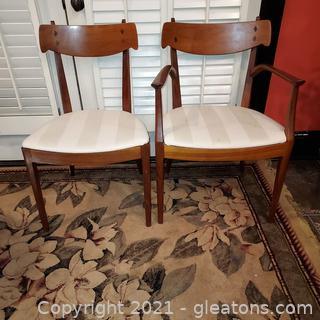 Set of 2 Kipp Stewart Drexel Declaration Dining Chairs – 1 Armed 1 Side