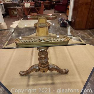 Beautifully Carved Double Pedestal Glass Top Dining Table