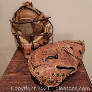 Two Piece Vintage Baseball Catchers Collection