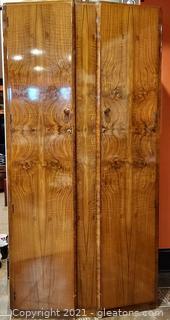 Stylish Art Deco Armoire – Burl Wood Veneer Finish Doors