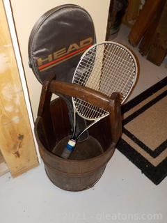 Well Bucket Decor Piece and a Vintage Head Tennis Racket with Case