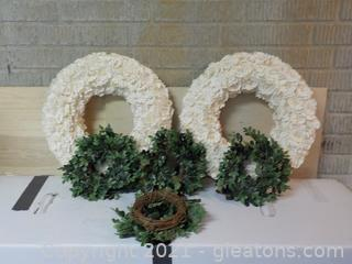 White Wreaths and 4 Candle Rings