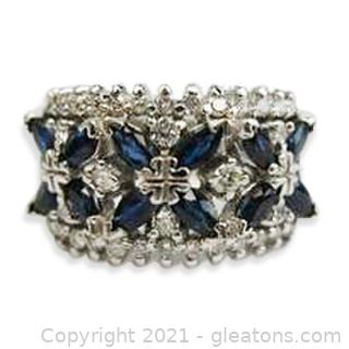 Gorgeous Diamond and Sapphire Ring in 14kt White Gold