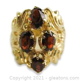 Pretty Garnet Ring in 14kt Yellow Gold