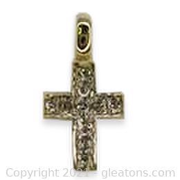 Classic Diamond Cross Pendant in 14kt Yellow Gold