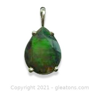 Gorgeous Ethiopean Black Opal Pendant in Sterling Silver