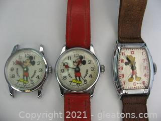 3 Vintage Mickey Mouse Manual Watches
