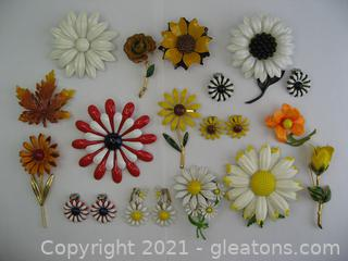 Bright Floral Brooch & Clip on Earrings Lot