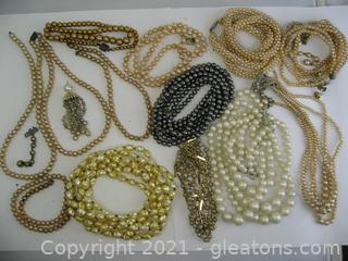 Costume Pearl Jewelry Lot