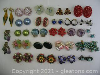 Colorful Costume Clip on Earring Lot