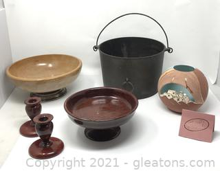 Unique Collection of Burled Wood, Cast Iron and Pottery
