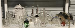 Vintage Chemistry Glass and Tools