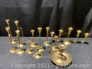 Lot of Brass Candle Holders