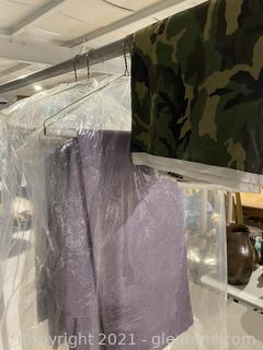 Lot of Purple Curtains and Camo Cloth