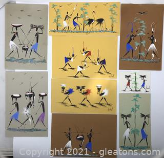 Mid-Century African Art on Paper-Signed by Artists