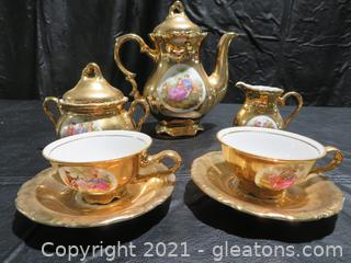 Exquisite Waldershof Germany 22k Gold Tea Set for Two