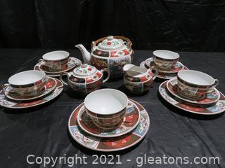 Sensational Japanese Tea Set for 6 with Imari Decoration