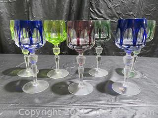 Seven Gorgeous Antique Crystal Colored Wine Glasses Roemers Nachtmann