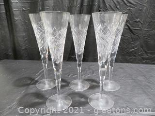 Exquisite Lead Crystal Toasting Flutes (5)