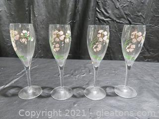 Set of Four Beautiful Perrier Jouet Hand Painted Champagne Glasses