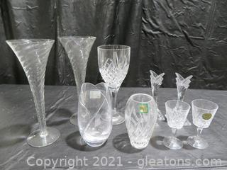 Fun Lot of Crystal Vases and Glasses