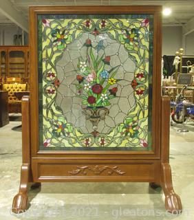 Beautiful Stain Glass Floral Framed Window on Cheval Stand Easel