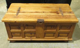 Vintage Spanish Style Rustic Wood Storage Trunk Metal Hardware