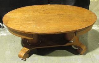Empire Style Oval Tiger Oak Coffee Table