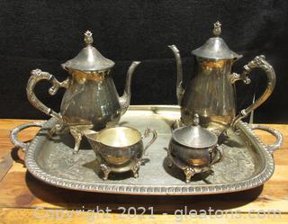 Vintage Leonard Silver Plate Tea & Coffee Service Set