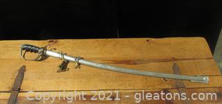 Replica WWi Era US Army Officer Sword + Scabbard M1902