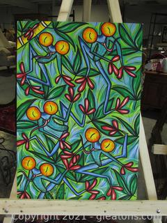 Mexico Folk Art Painting Frogs on Muslin Material Signed by Artist