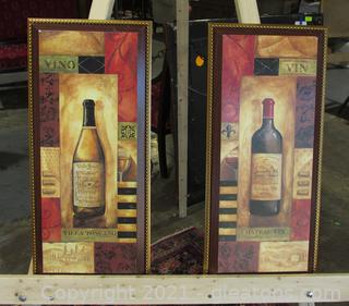 2 Paper Prints on Wood  / Chateau Vin Villa