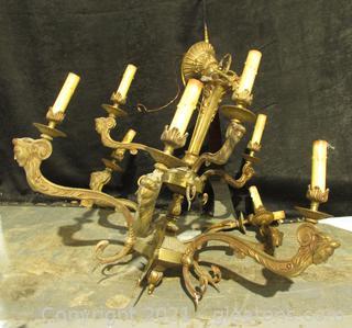 Large Old 9 Light Brass Chandelier