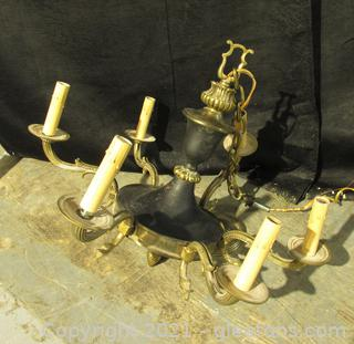 6 Light Brass and  Black Metal Chandelier