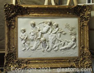 A Large 20th Century Carvingo of Cherubs Whimsically Riding a Lion