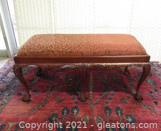 20th Century Chippendale Claw Foot Upholstered Bench