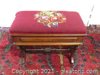 Victorian Antique Walnut Slipper Bench Needlepoint