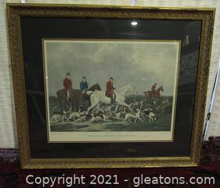 """""""The Earl of Derby's Stag Hounds"""" Print Certificate of Authenticity of Being Hand Colored"""