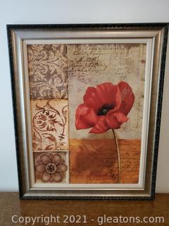 Large Framed Flower Painting