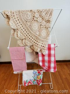 Folding Linen Rack with Handmade Doilies Apron and Fabric