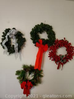 Four Christmas Wreaths