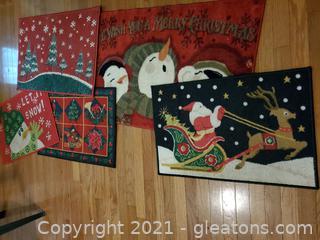 Five Christmas Floor Mats
