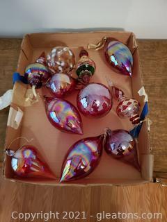 11 Large Glass Christmas Ornaments