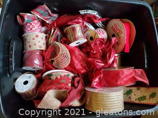 Bin of Christmas and Holiday Ribbons